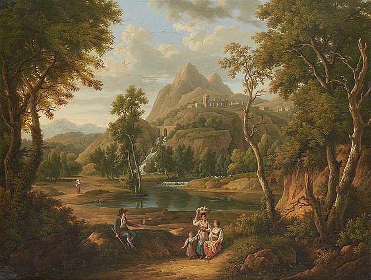 Ecole Française vers 1820, entourage de Jean Victor Bertin  Paysans et lava