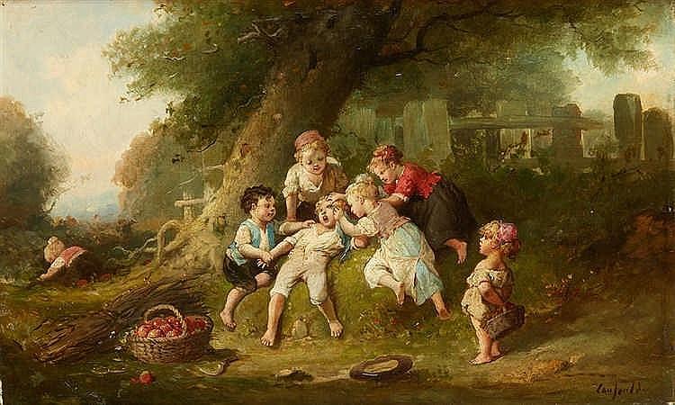 François Louis LANFANT DE METZ (1814-1892) Scène d'enfantillage en sous-bo