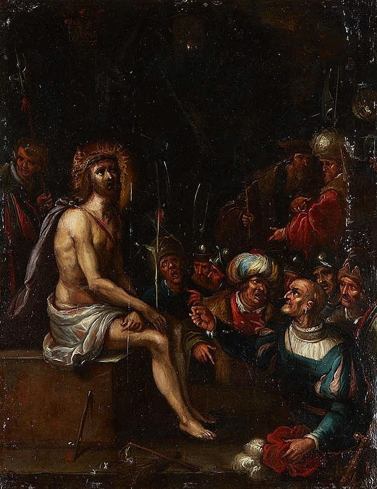 Ecole Flamande du XVIIe siècle, atelier de Frans FRANCKEN  Christ au rosea