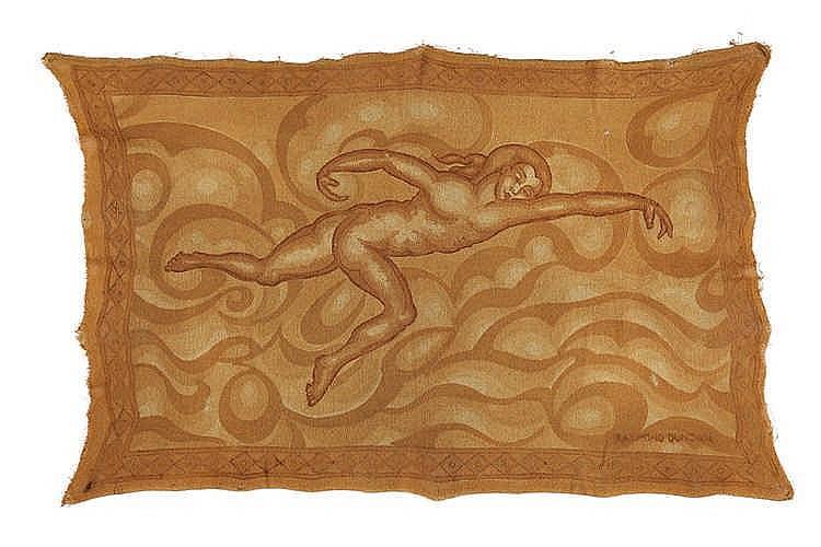 Raymond DUNCAN (1874 - 1966)  Panneau peint, composition à la nageuse dans