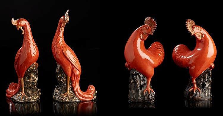 CHINE  Quatre figurines animalières en porcelaine représentant une paire de