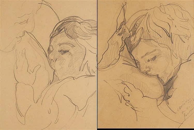 Nicolas TARKOFF (1871-1930) Maternités. Deux dessins au crayon noir sur