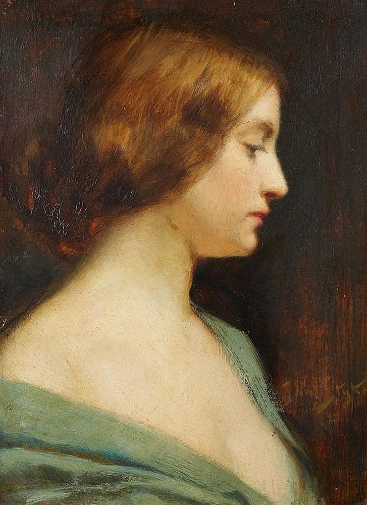 Jan STYKA (1858-1925)   Portrait de femme de profil.   Huile sur carton sig