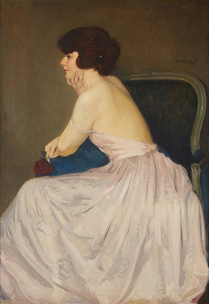 BENITOV-SALA ou BRAÏTOU-SALA Albert (1885-1972)   Élégante à la rose, 1922.
