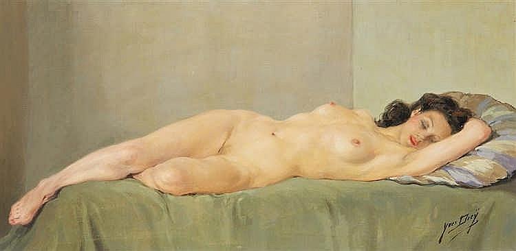 Yves DIEY (1892-1984) Nu au drap vert. Huile sur toile, signée en bas à d