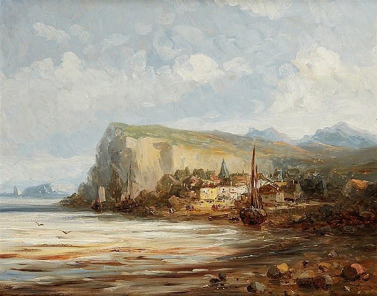 ANONYME, début XXe siècle  Village au pied d'une falaise en bord de mer.