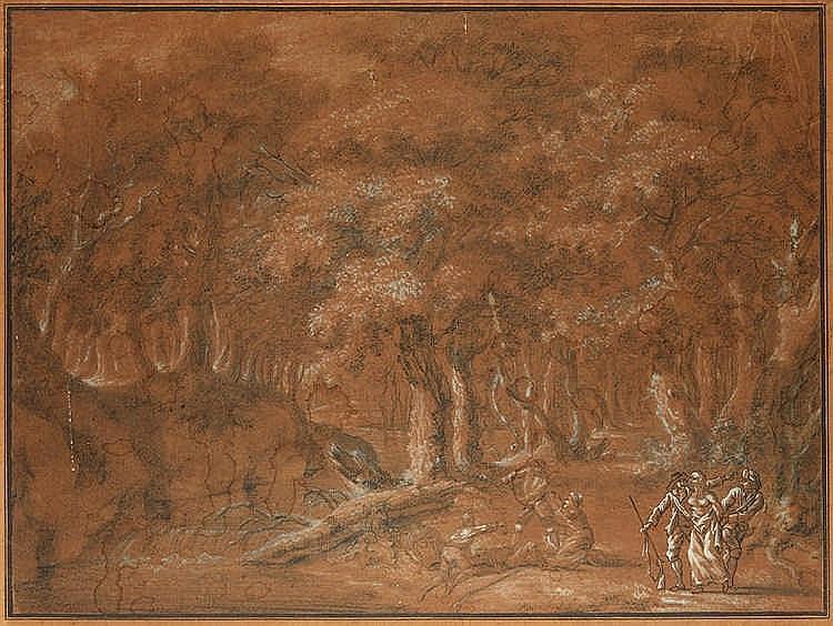 Ecole française de la fin du XVIIIe siècle. Scène de brigandage. Dessin