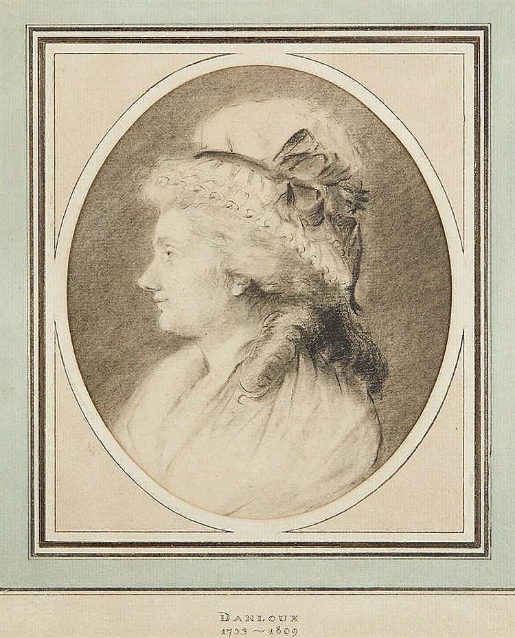 Attribué à DANLOUX (1753-1809). Portrait de femme. Dessin à la pierre n