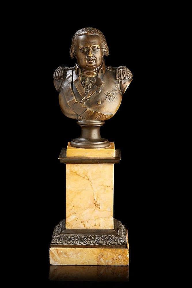 Louis-François Jeannest (1781-1856)  Buste en bronze ciselé et patiné repré