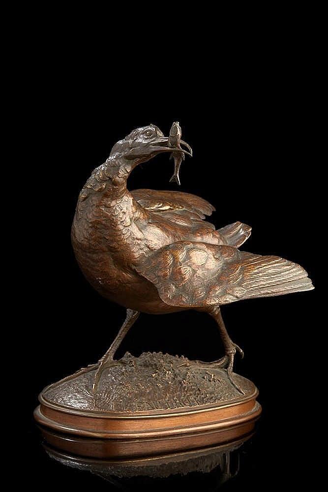 Ferdinand PAUTROT (1832-1874), d'après.  Oiseau tenant dans son bec un pois