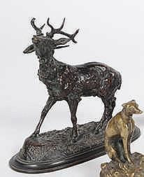 F. PAUTROT (1832-1874) Cerf au brame. Bronze à patine brune, signé sur