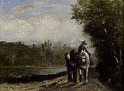 Edmond RENAULT (1829-1905) - HALAGE LE LONG D'UNE