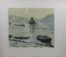 Erich von Perfall (deutsch, 1882 - 1961), Binger Mäuseturm, Farblitho.