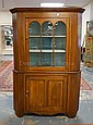9 PANE, 2 PC CORNER CHERRY CUPBOARD; TOP ROW OF WINDOWS W/ARCHED TOPS