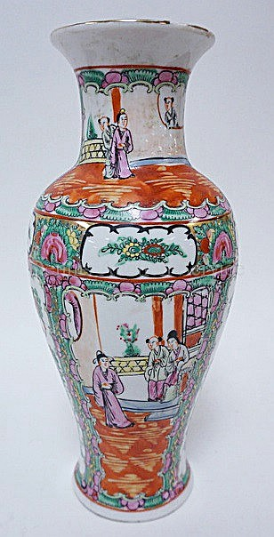 ROSE MEDALLION CHARACTER SIGNED VASE W/PEOPLE; HAIRLINE DOWN FROM THE RIM & SMALL CHIP; 12 3/8 IN H