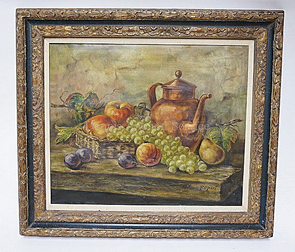 FRAMED O/C FRUIT STILL LIFE SIGNED MALVERN RUPERT; 24 IN X 20 IN