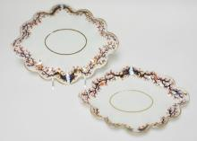 PAIR OF 19 TH C. ROYAL CROWN DERBY SCALLOPED EDGE TRAYS W/ GAUDY DECORATION. SOME GOLD WEAR. 12 IN X 9 5/8 IN
