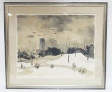 FRAMED LIM ED PRINT BY ADOLF DEHN TITLED *WINTER PARK*. PENCIL SIGNED. NO. 24 OF 35. 21 IN X 17 IN