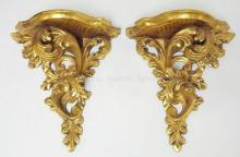 PAIR OF CARVED GILTWOOD SHELVES. 11 1/2 IN H, 5 7/8 IN DEEP
