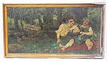 WOLDEMAR COUNT OF REICHENBACH (1846-1914). AGED SATYR AND BACCHUS. OIL ON CANVAS MOUNTED TO BOARD. SIGNED AND DATED LOWER LEFT. 63 1/4 X 32 INCHES.