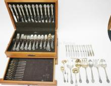 133 PC (143.67 TROY OZ) GORHAM *KING EDWARD* STERLING SILVER FLATWARE SET. BREAKDOWN AVAILABLE. (WEIGHT COUNTS 1/2 PER KNIFE HANDLE)