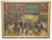 FRAMED O/C BY ANNE ELIZABETH RECTOR- NEW YORK CITY STREET SCENE- 3RD AVE. SIGNED LOWER LEFT. NOT CHILD W/ PEDAL CAR LOWER RIGHT. 40 IN X 30 IN