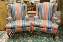 PAIR OF WING CHAIRS WITH STRIPED UPHOLSTERY. 44 IN TALL.