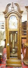 RIDGEWAY TALL CASE CLOCK WITH CHIMES. 81 IN TALL. 23 1/2 IN WIDE.