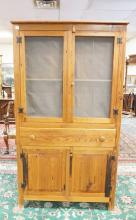 PINE PIE SAFE WITH CUPBOARDS BELOW. 72 1/2 IN TALL. 40 1/2 IN WIDE.