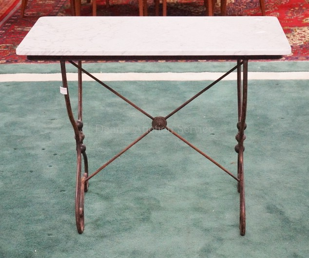 Marble Top Table With Iron Bench 37 X 20 14 Inch Top 29 Inches Tall