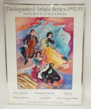 FRAMED ART POSTER *MELODIES* SIGNED BY JANE BAZINET. 18 1/4 X 24 1/2 IN.