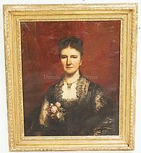 FELIX MOSCHELES (1833-1917) PORTRAIT OIL PAINTING ON CANVAS OF A WOMAN IN A BLACK DRESS WITH ROSES IN HER LAP. SIGNED UPPER RIGHT *F. MOSCHELES 1885*. 24 X 29 1/4 INCHES.