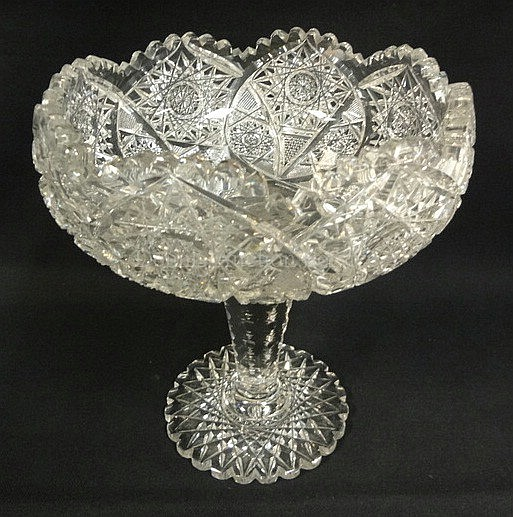 DEEP BRILLIANT CUT GLASS LARGE OPEN COMPOTE; 9 3/4