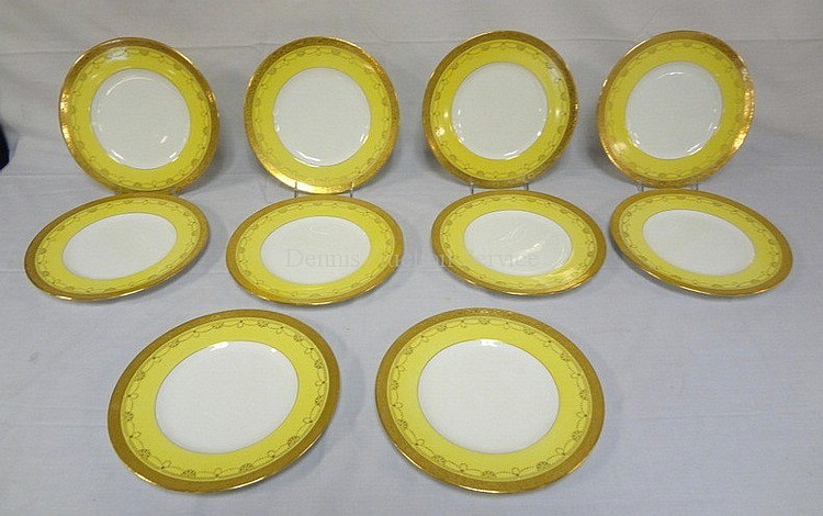 SET OF 10 MINTON SERVICE PLATES W/YELLOW & GOLD