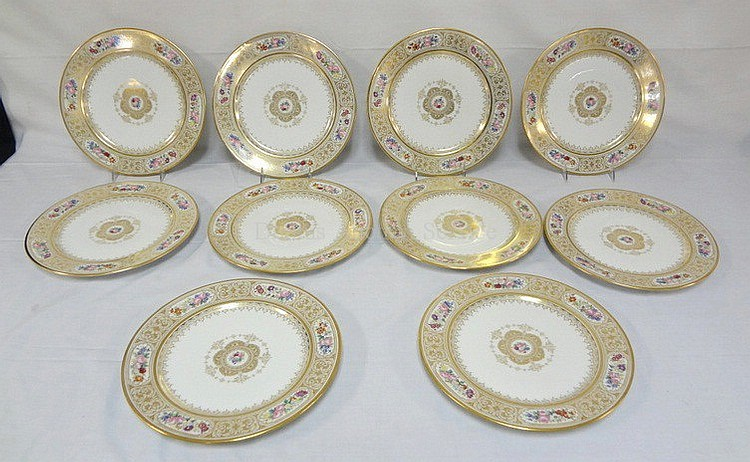 SET OF 10 GUERIN LIMOGES 11 IN SERVICE PLATES