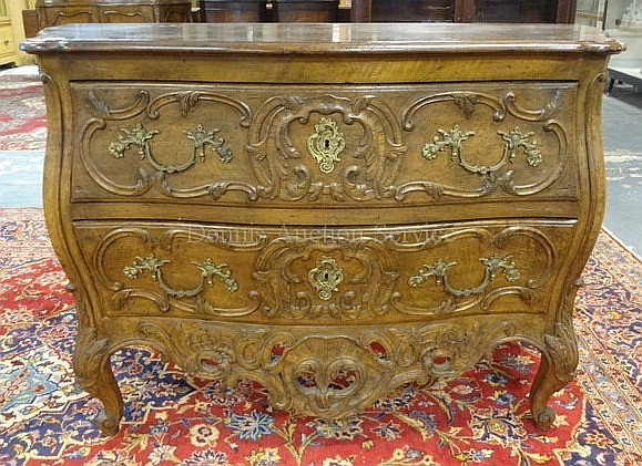 2 DRW CHEST W/LEAF & SCROLL CARVING; HAS OPEN