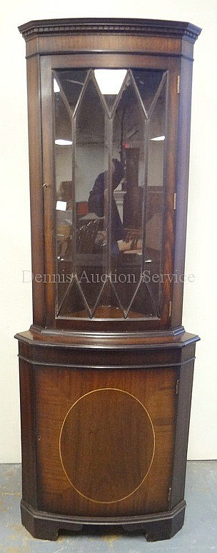 SMALL SIZE MAHOGANY CORNER CABINET W/INLAY ON THE
