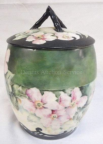 HAND PAINTED T & V LIMOGES BISCUIT JAR W/TWIG