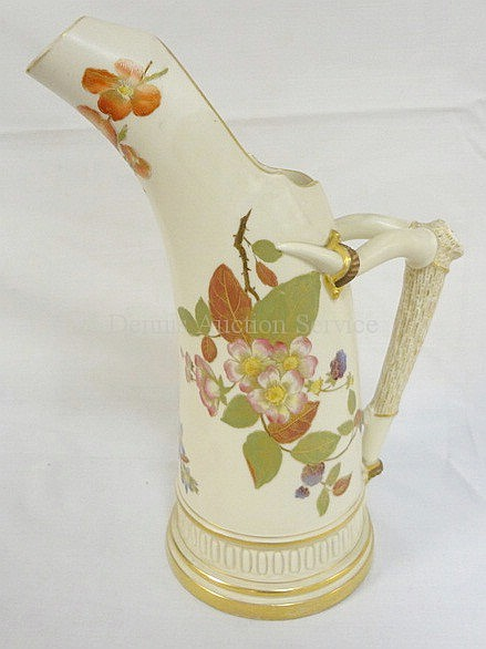 HAND PAINTED ROYAL WORCESTER PITCHER W/HORN FORM
