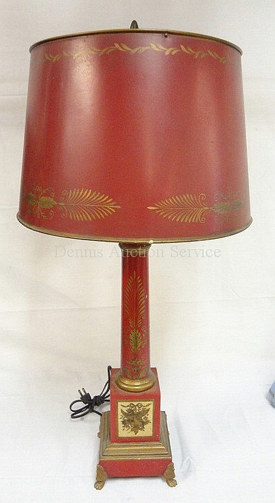 CLAW FOOT TOLE TIN TABLE LAMP; HAS SLIGHT DENT ON