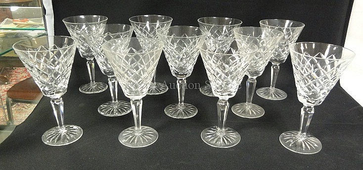 SET OF 11 SIGNED WATERFORD 7 IN CUT CRYSTAL
