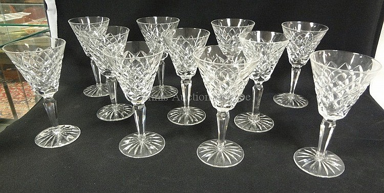SET OF 11 SIGNED WATERFORD 6 1/2 IN CUT CRYSTAL