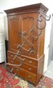 2 DR, 3 DRW ANTIQUE LINEN PRESS; 45 IN W, 80 3/4 IN H