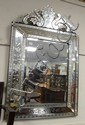 ORNATE CUT VENETIAN MIRROR; 31 1/2 IN X 50 IN