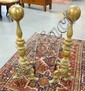 PR OF TALL BRASS CANNONBALL ANDIRONS