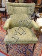 UPHOLSTERED ARM CHAIR W/TURNED LEGS & ARM POSTS