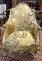 CARVED, PAINT DECORATED ARM CHAIR W/FLORAL EMBROIDERED UPHOLSTERY