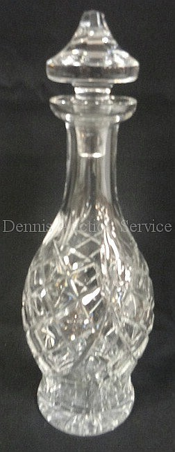 SIGNED WATERFORD CUT CRYSTAL DECANTER W/ORIGINAL STOPPER; 13 1/8 IN H