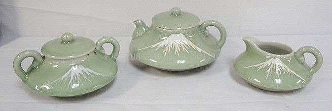 CELEDON 3 PC TEA SEAT W/SNOW CAPPED MOUNTAIN; POT IS 4 1/2 IN H