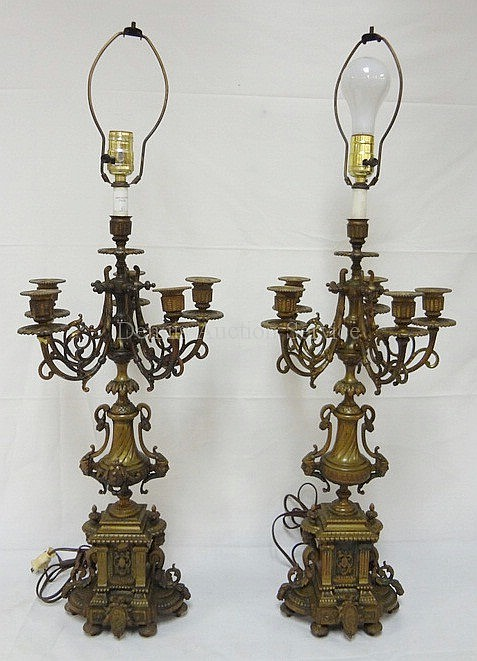 PR OF BRONZE CANDELABRA LAMPS W/FACE ORNAMENTS; 33 IN H